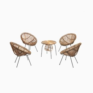 Mid-Century Italian Rattan Easy Chairs and Low Table, Set of 5