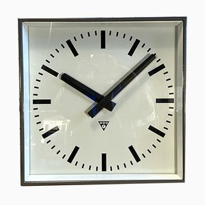 Large Grey Wall Clock from Pragotron, 1960s