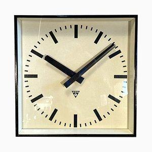 Grande Horloge Murale Noire de Pragotron, 1960s