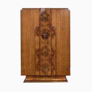 Armario Art Déco de madera nudosa de nogal, años 30