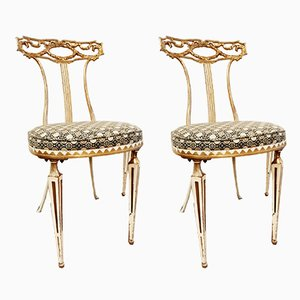 Mid-Century Italian Gilt Metal Side Chairs from Palladio, Set of 2