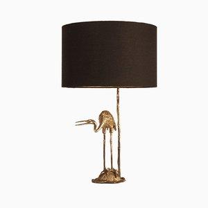 Lámpara de mesa plateada adornada con cigüeña de Valenti, años 70