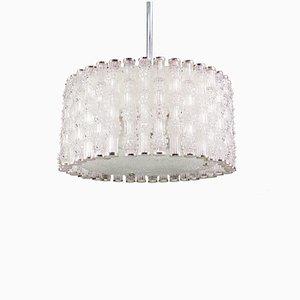 Crystal Glass and Chrome Drum Pendant Lamp by J. T. Kalmar for Kalmar, 1960s