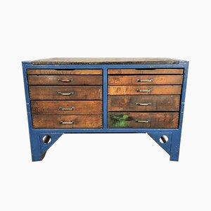 Cajonera industrial vintage de acero y madera, años 50