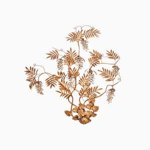Aplique grande floral dorado de Hans Kögl, años 70