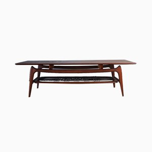 Teak and Ceramic Coffee Table by Louis van Teeffelen for WéBé, 1950s
