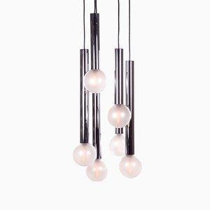 Lampada da soffitto a sei luci in metallo cromato e vetro di Motoko Ishii per Staff, anni '70