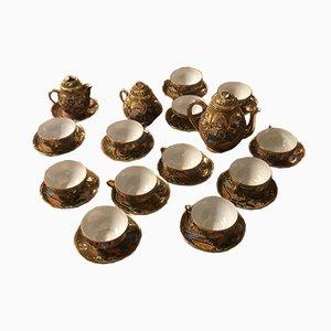 Service à Café ou Thé Satsuma Mid-Century en Porcelaine Opaque Émaillée et Dorée