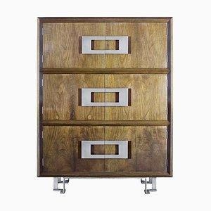Mueble español de chapa de nogal y latón de Jordi Vilanova, años 70