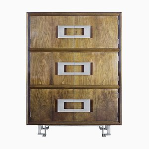 Spanish Walnut Veneer and Brass Cabinet by Jordi Vilanova, 1970s