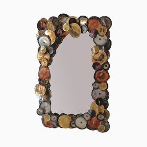 Brass and Copper Raindrops Wall Mirror by Curtis Jere for Artisan House, 1970s