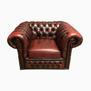 Red Leather Chesterfield Armchair, 1970s