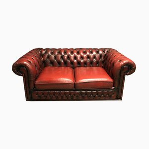 Red Leather Chesterfield Sofa, 1970s