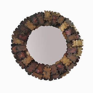 Brutalist Brass and Copper Wall Mirror, 1960s