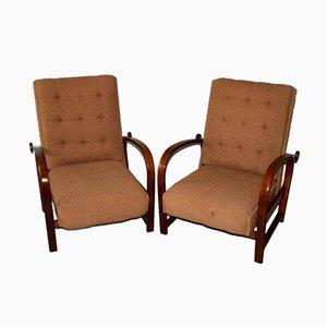Art Déco Armlehnstühle aus gebogenem Holz, 1920er, 2er Set