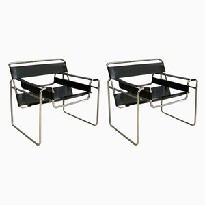 Model B3 Wassily Armchairs by Marcel Breuer, 1980s, Set of 2