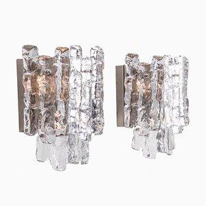Große Eisglas & Nickel Wandlampen von JT Kalmar für Kalmar, 1960er, 2er Set