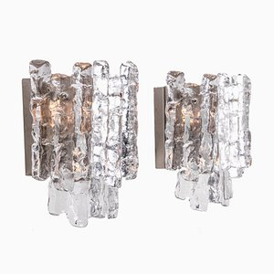 Large Ice Glass and Nickel Sconces by J. T. Kalmar for Kalmar, 1960s, Set of 2