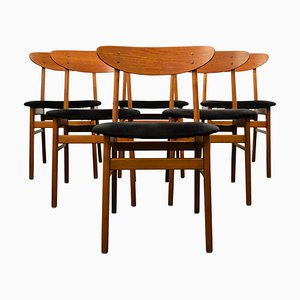 Teak and Beech Dining Chairs from Farstrup Møbler, 1960s, Set of 6
