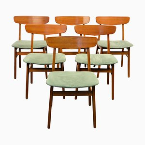 Teak and Beech Dining Chairs from Findahls Møbler, 1960s, Set of 6
