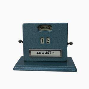 Calendario perpetuo vintage metálico en azul de Jakob Maul