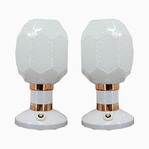 Lampes de Bureau Blanches, 1960s, Set de 2