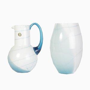 Vaso e brocca in vetro blu e bianco di Bohemia Crystal, anni '90, set di 2