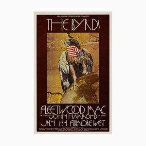 Póster de concierto de The Byrds y Fleetwood Mac de David Singer, años 70