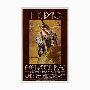 The Byrds and Fleetwood Mac Concert Poster by David Singer, 1970s