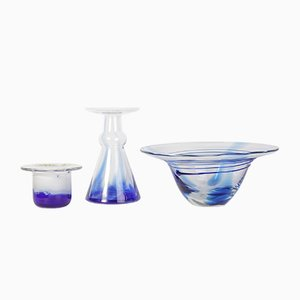 Blue Glass Bowl and Vase Set from Egermann, 1980s, Set of 3