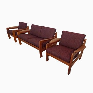 Teak Sofa and Lounge Chairs, 1960s, Set of 3