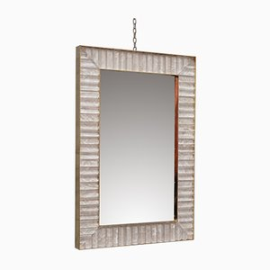 Specchio da parete in vetro di Murano, ottone e velluto, anni '70