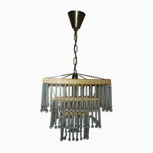 Vintage Brass and Glass Crystal Chandelier, 1970s