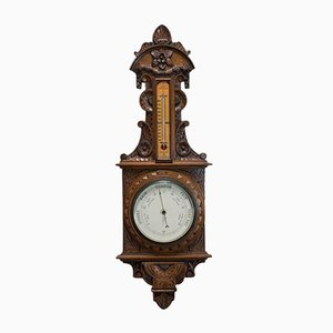 English Oak Barometer-Clock, 1937