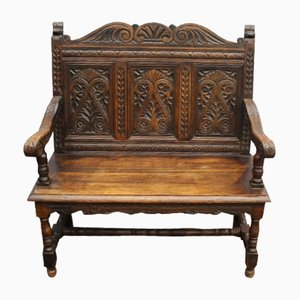 Antique Carved Oak Bench