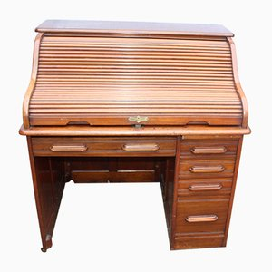 Antique Mahogany Single Pedestal Roll Top Desk, 1910s