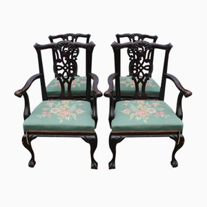 Mahogany Dining Chairs, 1920s, Set of 4