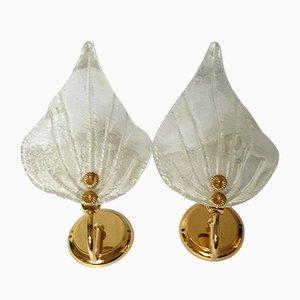 Apliques italianos de cristal de Murano de Barovier & Toso, 1981. Juego de 2