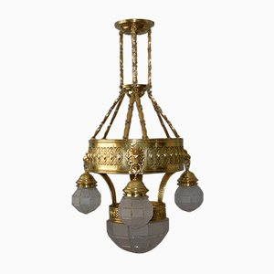 Antique Art Nouveau Brass Ceiling Lamp, 1910