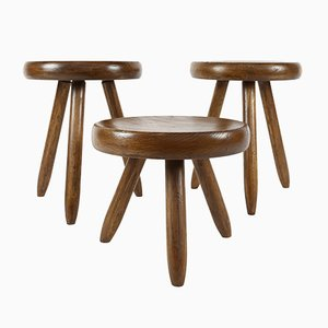 French Oak Stool by Charlotte Perriand, 1960s