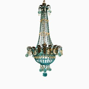 Turquoise Murano Glass Chandelier, 1940s