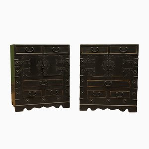 Tables de Chevet Peintes en Noir, Chine, 1970s, Set de 2