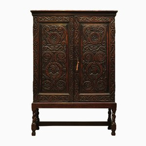 Antique Victorian Carved Oak Cabinet