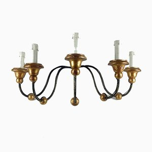 Antike 5-armige Eisen Wandlampe