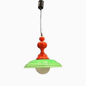 Lampe à Suspension Mid-Century en Verre Opalin Vert, 1960s
