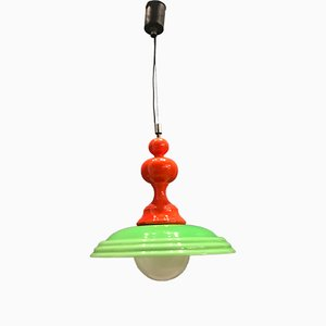 Mid-Century Green Opaline Glass Pendant Lamp, 1960s