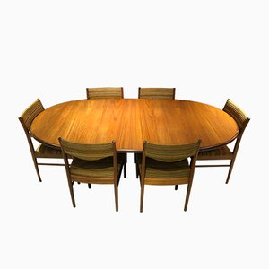 Dining Table & Chairs Set by Victor Wilkins for G-Plan, 1970s, Set of 7