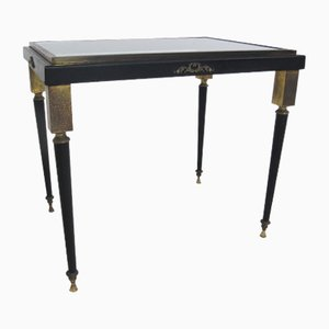 Table d'Appoint Hollywood Regency en Laiton et Verre de Maison Jansen, 1950s