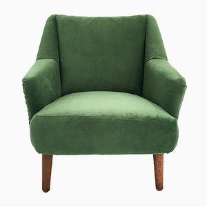 Danish Green Velvet & Teak Armchair, 1960s