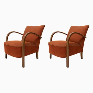 Bentwood Model H-213 Lounge Chairs by Jindřich Halabala for UP Závody, 1930s, Set of 2